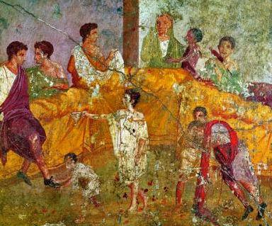 romeins diner met slaven